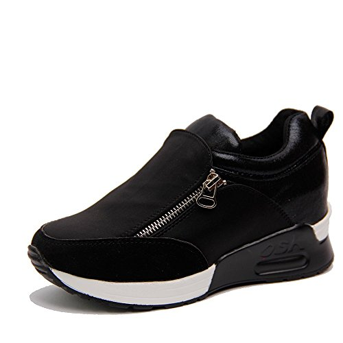 OUOUVALLEY Height Increasing Fashion Platform Shoes Women's Casual Sport Shoe (US8.5(CN39=245CM), Black)