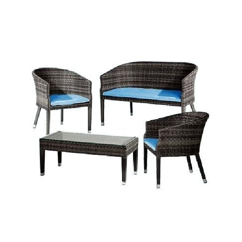 Set rattan da giardino poltrone divano e tavolo con vetro con cuscini