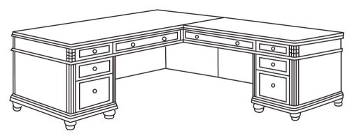 Office Furniture - Executive L-Shaped Desk with Right Return - Executive Office Furniture / Home Office Furniture - 7480-55