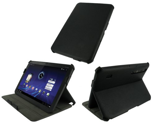 rooCASE Slim-Fit (Black) Folio Case Cover with Multi Adjustable Viewing Angles for MOTOROLA XOOM 32GB and WiFi 3G 4G