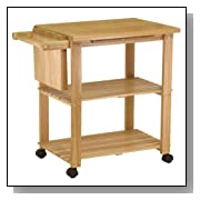 Natural Wood Utility Microwave Cart