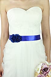 Simple Flowers Belts/sashes for Wedding/party/bridal Dress A06 in 12 Colors (Royal blue)