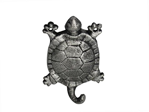 "Hampton Nautical  Rustic Silver Turtle 6"" Cast Iron Wall Hook (Metal Wall Décor) - 1"
