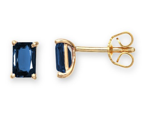 Glamorous 9 ct Gold Ladies Solitaire Stud Earrings with Sapphire - 8mm*6mm