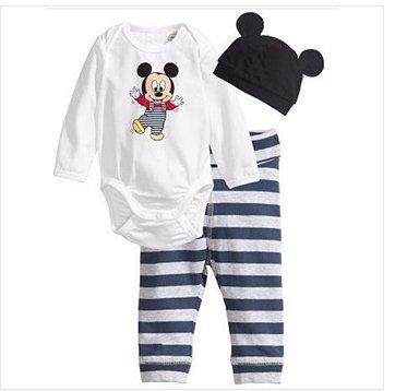 Children Baby Boys Girls Clothes 3 Pcs(Long-Sleeved Romper+Hat+Pants)Children Clothing Set (19-24, 08)