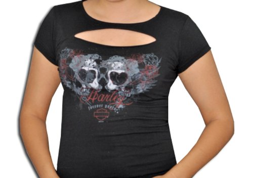 Harley-Davidson® Womens Heart Skull Slash Chest Black Short Sleeve T-Shirt (X-Large)