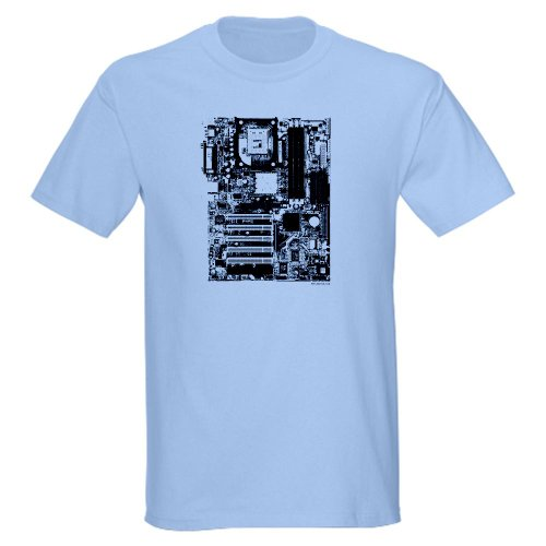 Motherboard Ash Grey T-Shirt Geek Light T-Shirt by CafePress