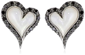 10k White Gold Heart White Mother-Of-Pearl and Black Diamond Earrings (1/5 cttw, Black)