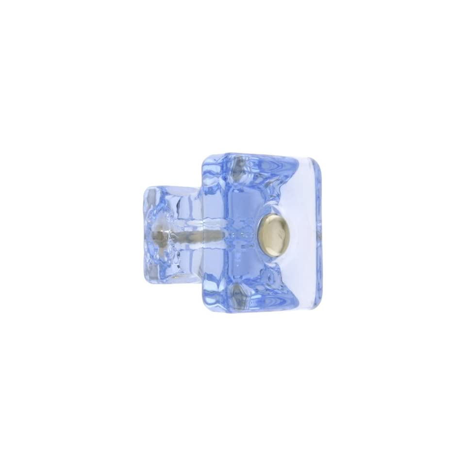 Square Light Blue Glass Cabinet Knob With Nickel Bolt. Kitchen Knobs Glass.