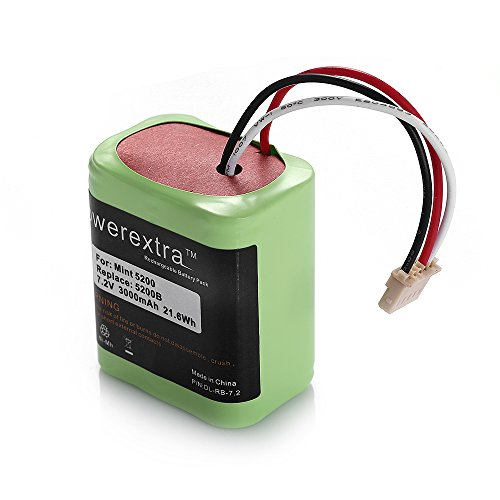 Powerextra™ High Capacity 7.2V 3000mAh Ni-MH iRobot Mint 5200 Vacuum Cleaner Replacement Battery For iRobot Mint 5200B by Powerextra™