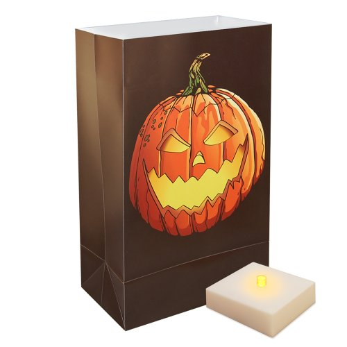 6 Weather Resistant Jack O' Lantern Luminaria Bags With Amber Led Flicker Lights