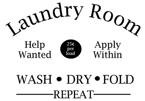 Laundry Room Help Wanted Apply Within Wash Dry Fold Repeat Door Decal Sticker for Walls or Glass (black)
