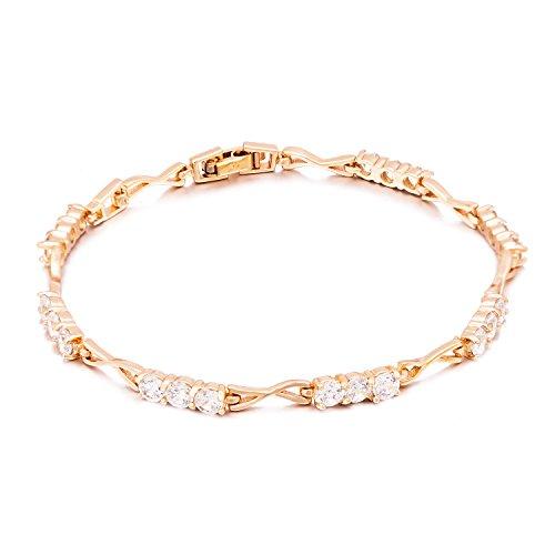 Romantic Time Four Prong Triple Diamond X Link 18k Rose Gold Tennis Bracelet