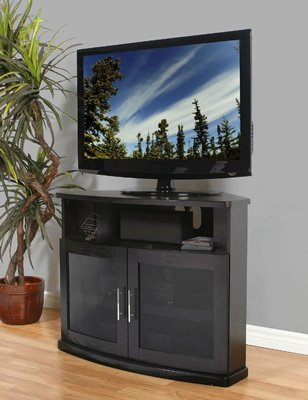 Image of Plateau - Newport-40-B - 40 inch Corner TV Stand in Black Finish (B004XC6V86)