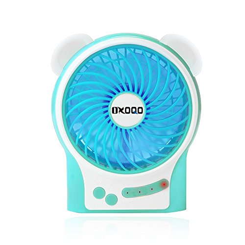Portable USB Mini Fan, OXOQO Desk Desktop Table Electric Quiet Fan with LED Light, Built-in 2500mah Rechargeable Battery for Room Office Outdoor Travel Camping Car, Blue (Usb Mini Portable Fan compare prices)
