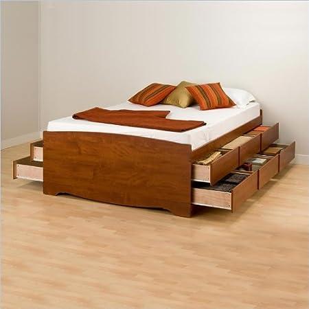 Prepac Monterey Cherry Tall Full Wood Platform Storage Bed 3 Piece Bedroom Set