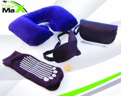 Cabin Max Travel / flight kit - inflatable neck pillow, eye sleep mask, ear plugs, flight socks and pen