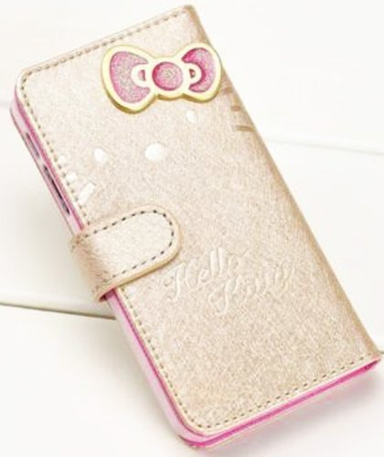Mylife (Tm) Gold Hello Kitty Design - Textured Koskin Faux Leather (Card And Id Holder + Magnetic Detachable Closing) Slim Wallet For Iphone 4/4S (4G) 4Th Generation Touch Phone (External Rugged Synthetic Leather With Magnetic Clip + Internal Secure Snap