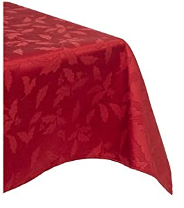 Lenox Holly Damask Tablecloth, 60 by 120-Inch Oblong/Rectangle, Red