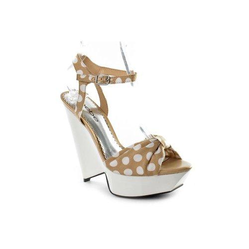 Bebe Kensley Open Toe Wedge Sandals Shoes Beige Womens New/Display UK 5