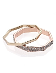 2 M&S Collection Hexagon Diamanté Bracelets