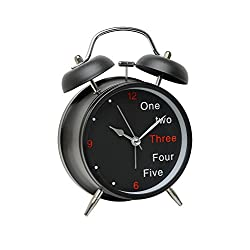 A2S Vintage Style Alarm Clock - Twin Bell, Analog & Battery Operated - Great for Heavy Sleepers and Travel (Black - White Numbers, Round Shape)
