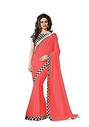 Hari Krishna sarees Dark Peach Color With Black and White Chex Georgette Saree/f223