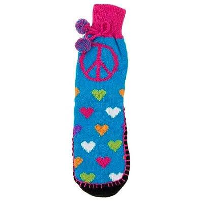 GMI Snuggle Feet Heart Knitted Slipper Socks for Women S/M