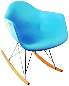 Control Brand Adult-Sized Mid-Century-Inspired Rocking Chair, Blue