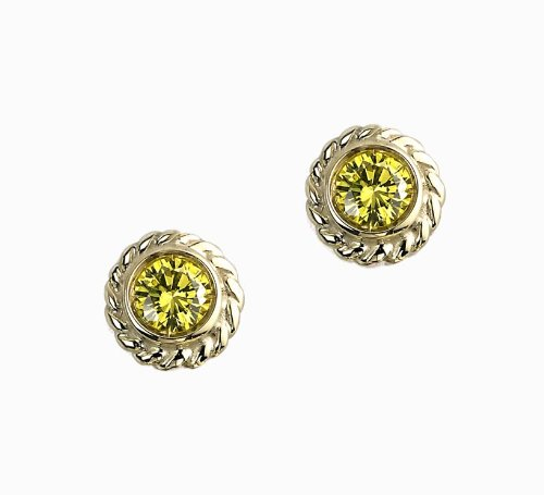 Color Story Strand Collection Canary Yellow Diamond Studs 0.32Ct In 14k Yellow Gold