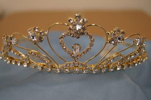 (Big)Elegant Bridal Wedding Tiara Crown With Crystal Party Accessories Dh3160L(Gold)