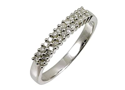 Ariel 9ct White Gold Diamond 2 Row Eternity Ladies Ring