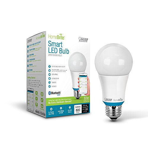 Feit Electric AOM800/827/LED/HBR 60W Equivalent (2700K) A19 Dimmable Bluetooth Smart HomeBrite LED Light Bulb, Soft White (Bluetooth Lightbulbs compare prices)