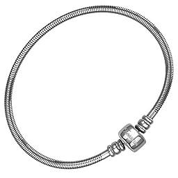 CHARM BRACELET for Women & Girls, BONUS Jewelry Bag, Steel Snake Chain Bracelets, Fits Pandora Charms! Barrel Snap Clasp, 10 Inch