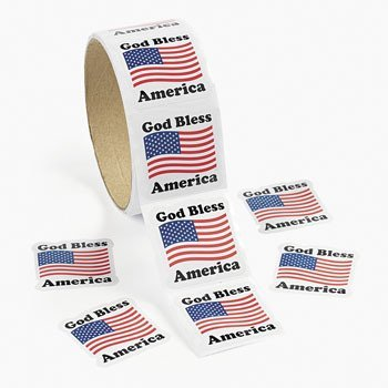 God Bless America Roll Stickers (1 ROLL) - BULK