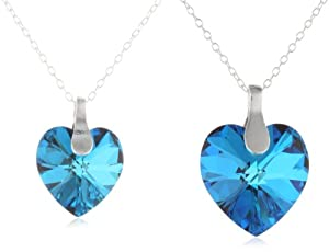 """Sterling Silver Mother and Daughter Bermuda Blue Swarovski Elements Heart Pendant Necklace s, 18"""", set of 2"""