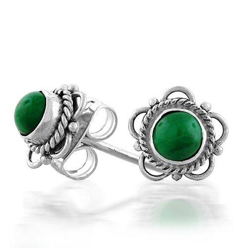 Bling Jewelry Sterling Silver Malachite Gemstone Antique Flower Stud Earrings