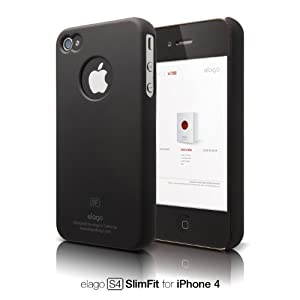elago S4 Slim Fit Case for iPhone 4 (Soft Feeling) - SF Black + Logo Protection Film included