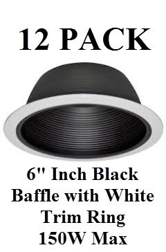 "6"" Inch Recessed Lighting Black Baffle With White Trim Ring Replaces Halo Juno Capri - 150W- 12Pk"