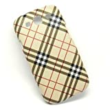 Lattice Pattern Leather coated Slim Plastic Hard Case for Samsung Galaxy S3 i9300 - Brown