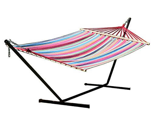 Sunnydaze Summer Fiesta Double Cotton Hammock with Spreader Bars and Stand Combo, 144 Inch Long x 59 Inch Wide