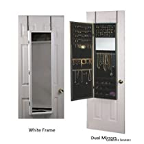 Jewelry Armoire Mirror With White Frame