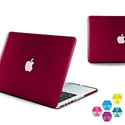Neon Party (TM) Series iBenzer Smooth Finish Plastic Hard Case Cover for Macbook Pro 13'' inch with Retina Display A1502 / A1425, Wine Red MRN13WR