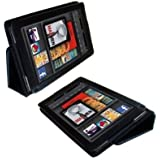 Fosmon Premium Black PU Leather Folio Case Cover with Flip Stand fits Kindle Fire (1st Generation)