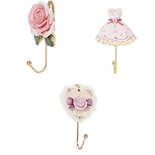 3 PCS Rose Flower/heart /Dress Shaped Wall Mounted Vintage Hat Coat Robe Hook Door Bathroom Towel Clothes Rack Hanger Resin