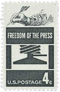 #1119 - 1958 4c Freedom of Press Postage Stamp Numbered Plate Block (4)