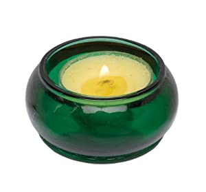 Biedermann Emerald Green Glass Tealight Disk Candle Holder, Set of 12