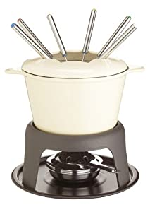 Kitchen Craft Master Class Cast Iron Enamelled Cream Fondue Set