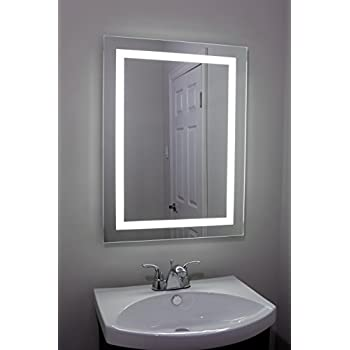 Lighted and Illuminated Large Beautiful Decorative Wall Mounted Frameless Professional Makeup Mirror for Bathroom or Vanity - Back lit LED 24 x 32 (50,000 Hour LED Bulb Life)