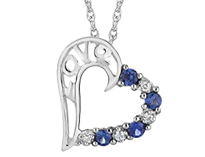 Created Sapphire Love Heart Pendant Necklace in Sterling Silver with Chain
